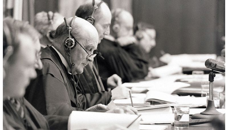 Geoffrey Lawrence, Chairman of the International Military Tribunal. Nuremberg Palace of Justice, Hall 600.