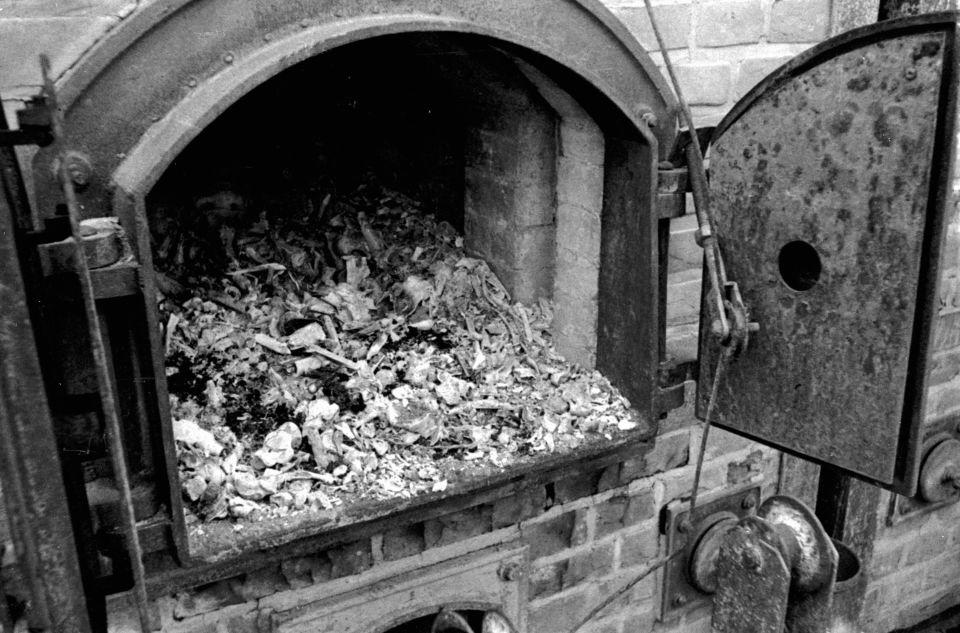 Великая Отечественная война 1941-1945 гг. Территория нацистского концентрационного лагеря Майданек после освобождения бойцами 1-ого Белорусского фронта Красной армии. Печи крематория, где сжигали узников лагеря смерти.