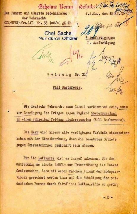 Unterlagen zum Fall Barbarossa