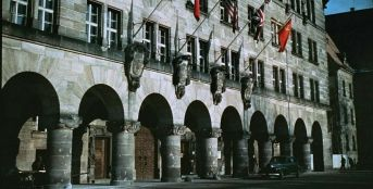 The Palace of Justice during the Nuremberg Trials. 1945.