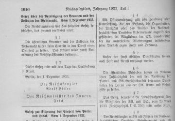 Publication of the law to safeguard the unity of party and state in the Reichsgesetzblatt newspaper
