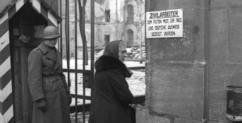 A checkpoint for Civilian Service employees of the Nuremberg Tribunal, 1945.