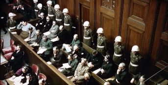 View of the defendants in the dock at the International Military Tribunal trial of war criminals in Nuremberg, Bavaria, Germany