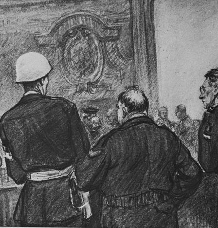 Reproduction du tableau de Nikolaï Joukov (1908 - 1973) «Pendant la pause» de la série «Le procès de Nuremberg».