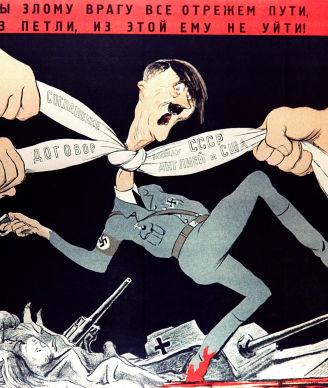 Reproduction d'une lithographie de Koukryniksy «Coupons toute route à l'ennemi. Cet ennemi malfaisant ne pourra se libérer du nœud où le tient le traité de solidarité entre l'URSS, l'Angleterre et les États-Unis»