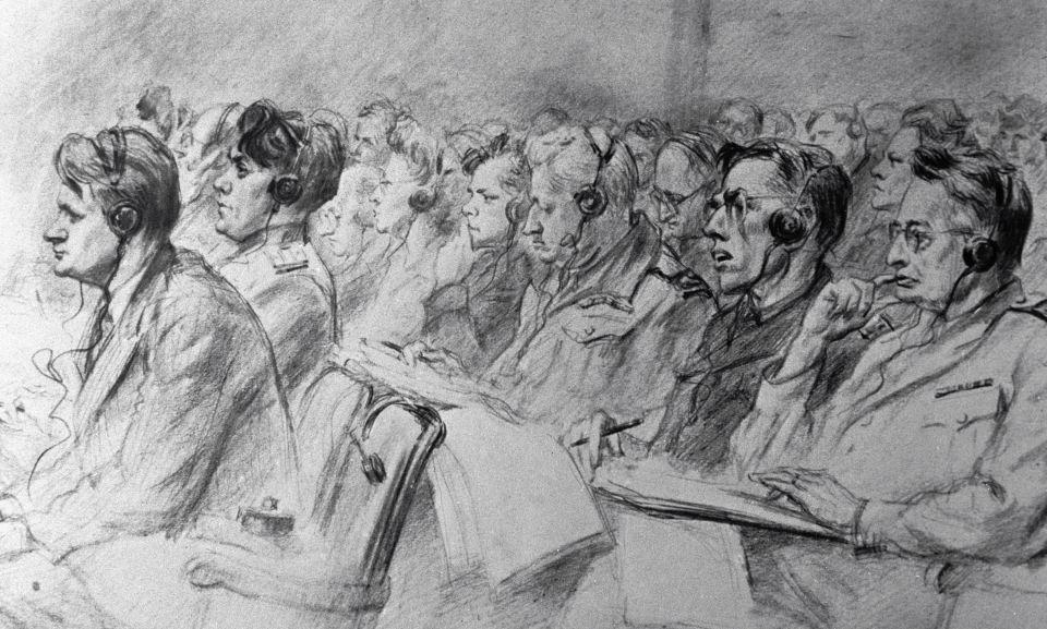 Reproduction du tableau de Nikolaï Joukov «Les juges du monde». Exposition «Le procès de Nuremberg».