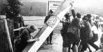 Riots in the Sudetenland on the eve of the capture of Czechoslovakia. Sudeten Germans demolish a border post