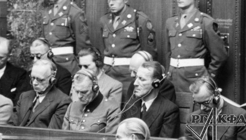 The International Military Tribunal: 1st row (from left to right): J. von Ribbentrop, W. Keitel, E. Kaltenbrunner, A. Rosenberg, December 18, 1945. Photo by Yevgeny Khaldei. RGAKFD / Arch. No. B-2441.