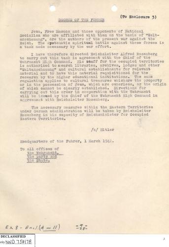 Hitler ordonne à l'équipe de Rosenberg de confisquer les biens de valeur des «ennemis du Reich» Décret du Führer, 1er mars 1942  Source: National Archives at College Park Container ID: 55 National Archives Identifier: 7582749