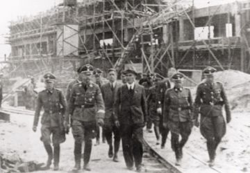Heinrich Himmler, head of the SS, visiting the IG Farben plant, Auschwitz III, German-occupied Poland, July 1942