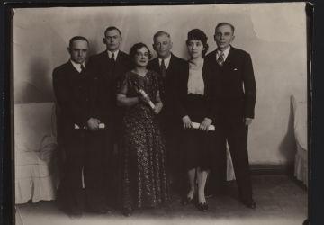 Poets-Harbinians. From left to right: Vasily Obukhov, Mikhail Shmeisser, Nina Ilnek, Arseny Nesmelov, Tamara Andreeva, Alexey Achair. 1930s. GA RF. F.R-10247. D.180. Public Domain