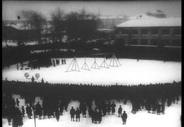 "Still from the documentary ""The People's Verdict"". 1946. Director L. Kikaz, cameraman E. Uchitel"