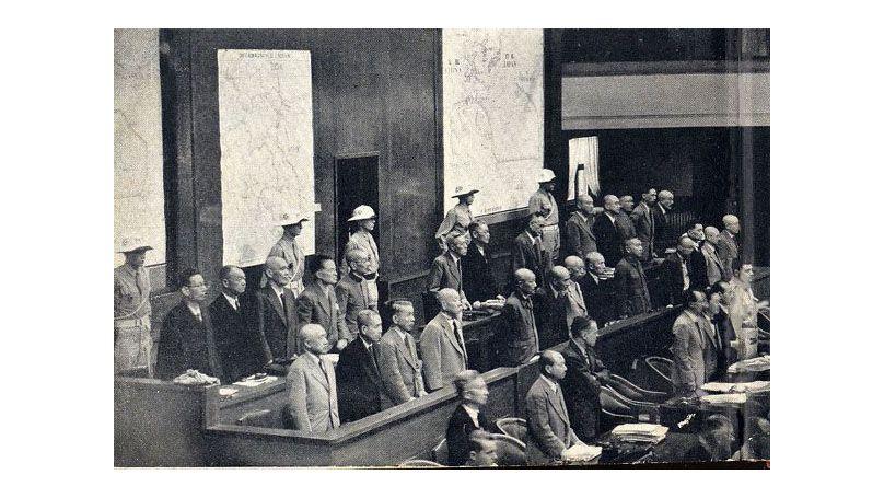 The defendants at the International Military Tribunal for the Far East, Ichigaya Court, Tokyo. 1946
