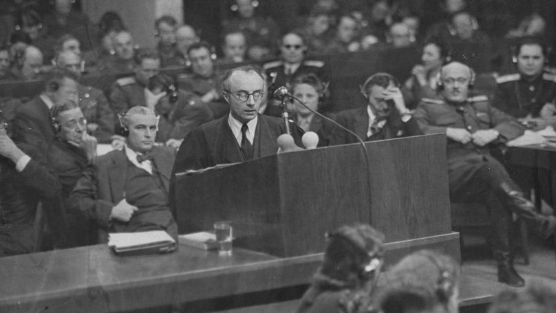 Defense counsellor Dr. Alfred Seidl, the counsel for Hans Frank and the second counsel for Rudolf Hess, presents an argument at the International Military Tribunal trial of war criminals at Nuremberg