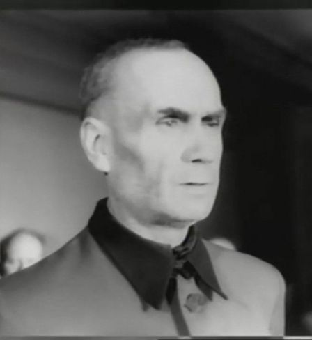 Still from the Riga Trial News film. SS-Obergruppenführer Friedrich Jeckeln is heard by the court. Officers' House, Riga, Latvian SSR, 1946.