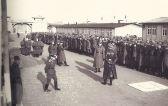 """Maurice Lampe: """"Als wir in Mauthausen eintrafen, erklärte der SS-Offizier, der den Zug mit 1200 Franzosen empfang, Folgendes – ich wiederhole diese Phrasen fast Wort für Wort: 'Deutschland braucht eure Hände. Also werdet Ihr arbeiten. Aber ich muss euch warnen, dass Ihr eure Familien nie wieder sehen werdet. Wer in diesem Lager landet, kann es nur durch den Schornstein des Krematoriums verlassen.'"""""""