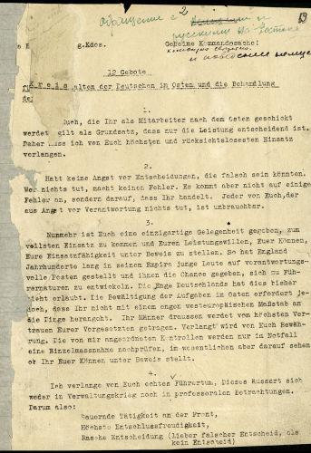 Geheime Empfehlungen vom 1. Juni 1941, die der Beauftragte für Lebensmittel und Landwirtschaft, Staatssekretär Herbert Backe, signiert hatte und die den Umgang mit den Menschen auf dem zu besetzenden Territorium der Sowjetunion betrafen