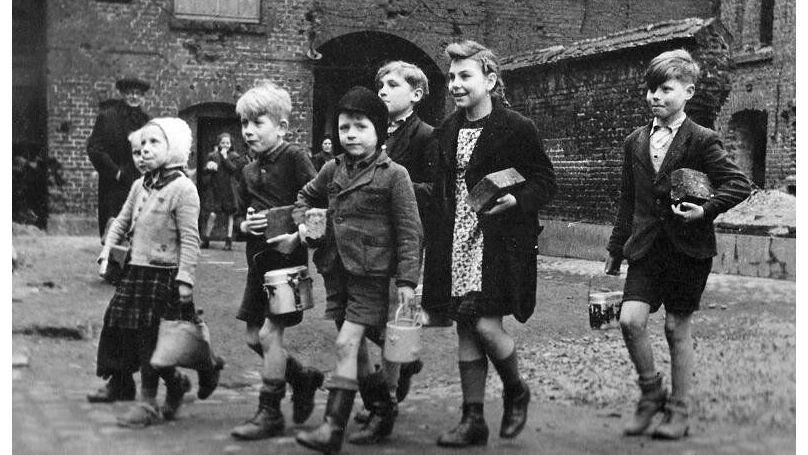 """German children go for milk. Berlin, May 1945  """"General Berzarin's Last Act of Heroism"""" project."""