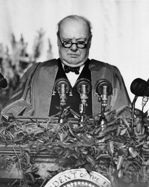 Der ehemalige britische Premier Winston Churchill hält Rede in Fulton, 5. März 1946