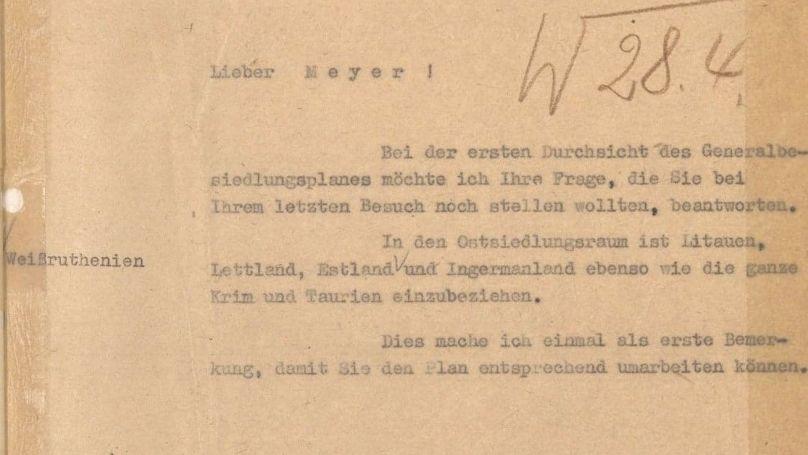 Une lettre de Heinrich Himmler au professeur Konrad Mayer, le 12 janvier 1943. // Bundesarchiv NS 19/1739