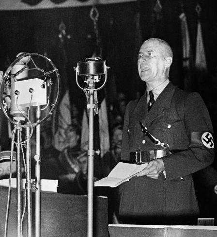 Wilhelm Frick, ministre de l'Intérieur du Troisième Reich, lors de son discours du 18 janvier 1939