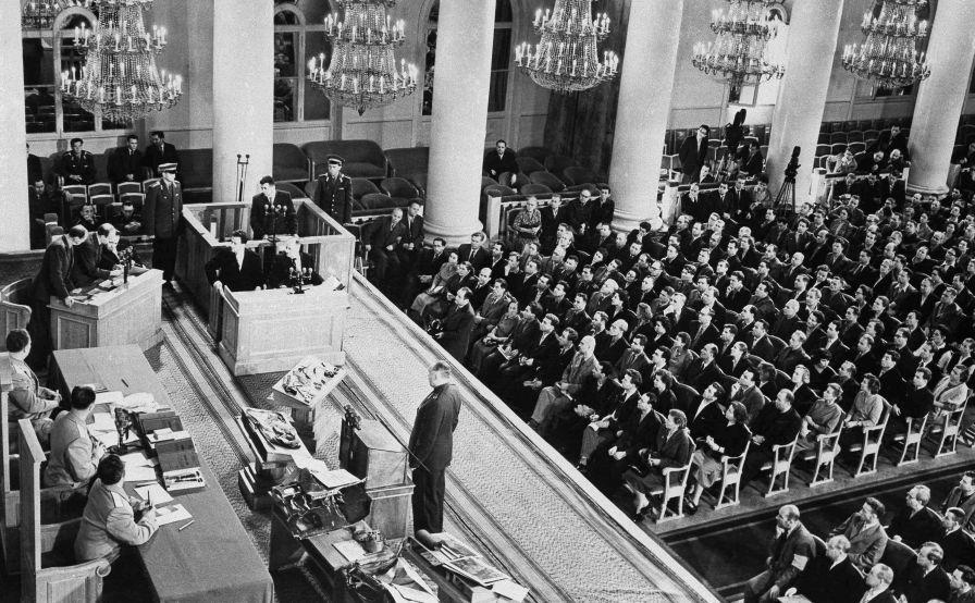 Le procès du pilote de l'avion de reconnaissance américain U-2 Francis Gary Powers à Moscou, le 18 août 1960.