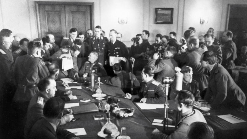 Field Marshal Keitel signs the Act of Unconditional Surrender of Nazi Germany to the Soviet Union  8 May 1945