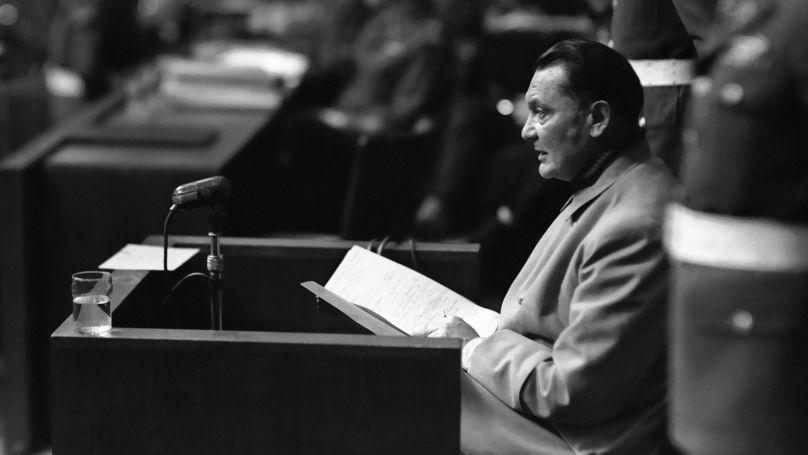 Hermann Göring lors de la première journée du contre-interrogatoire, le 13 mars 1946.