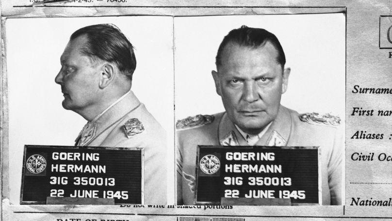 La photo d'Hermann Göring d'un dossier du Registre central des criminels de guerre (Paris).