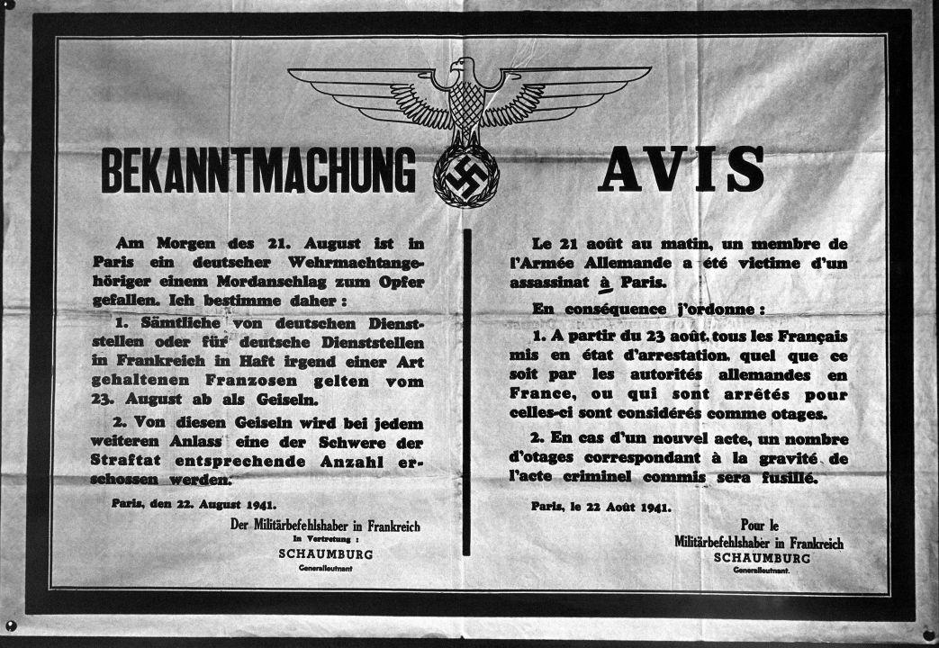 Communication officielle des autorités d'occupation à Paris, le 23 août 1941