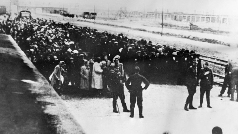 The arrival of first prisoners at the Auschwitz concentration camp established on 27 April 1940 at Heinrich Himmler's order