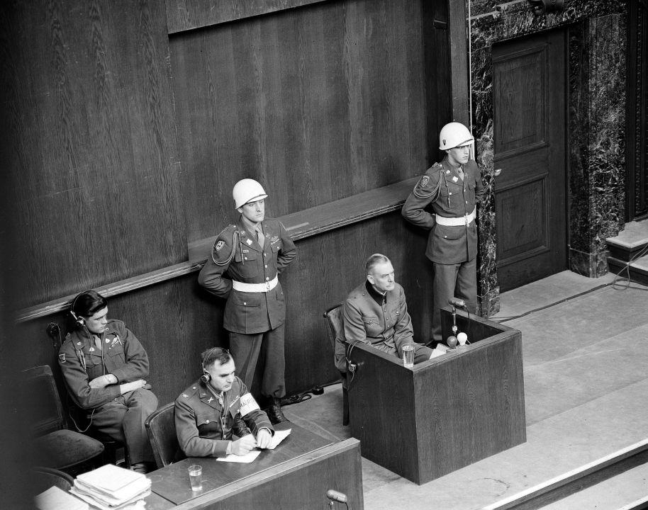 Wilhelm Keitel témoigne devant le Tribunal militaire international de Nuremberg. Allemagne, 3 avril 1946.