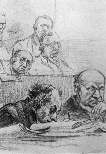 Anwälte bei den Nürnberger Prozessen, Skizze von Nikolaj Schukow