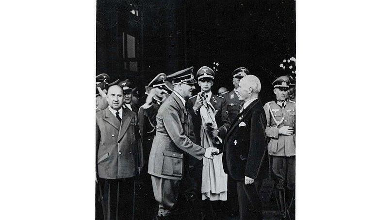 Adolf Hitler and shakes hands with German industrialist Gustav Krupp von Bohlen und Halbach