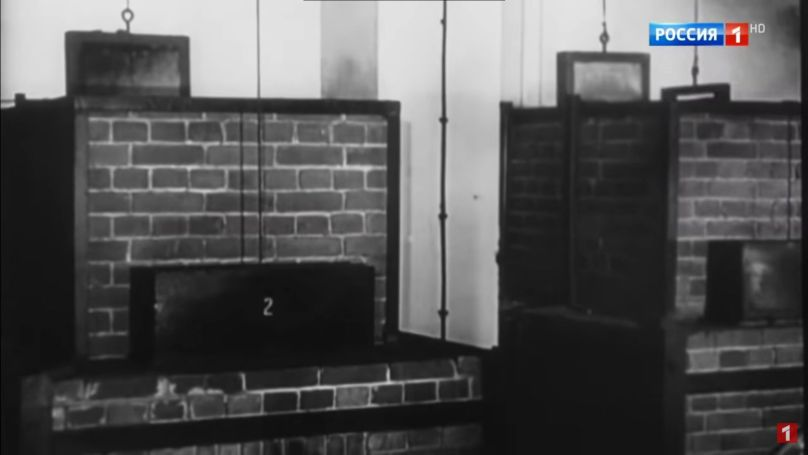 """The design bureau of the engineering company J. A. Topf & Söhne """"(Russian"""" Topf and Sons """"). The company produced stoves for Auschwitz."""