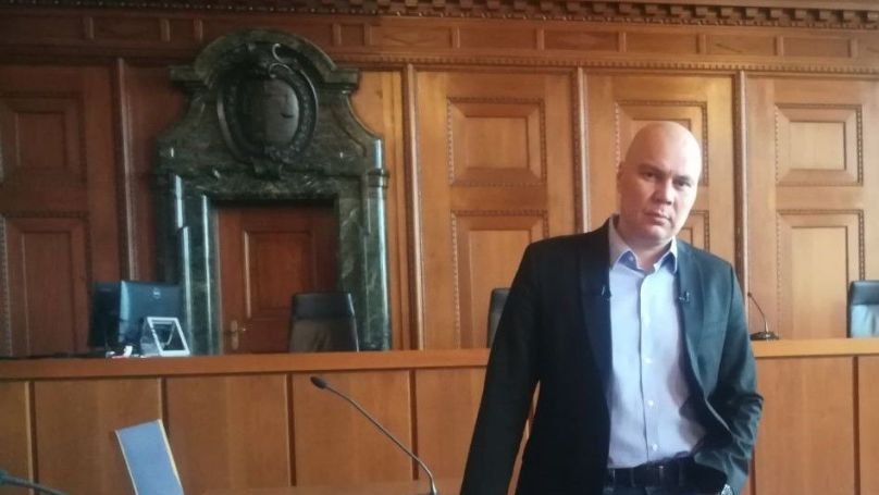 Russian journalist Andrei Medvedev at Nuremberg's Palace of Justice