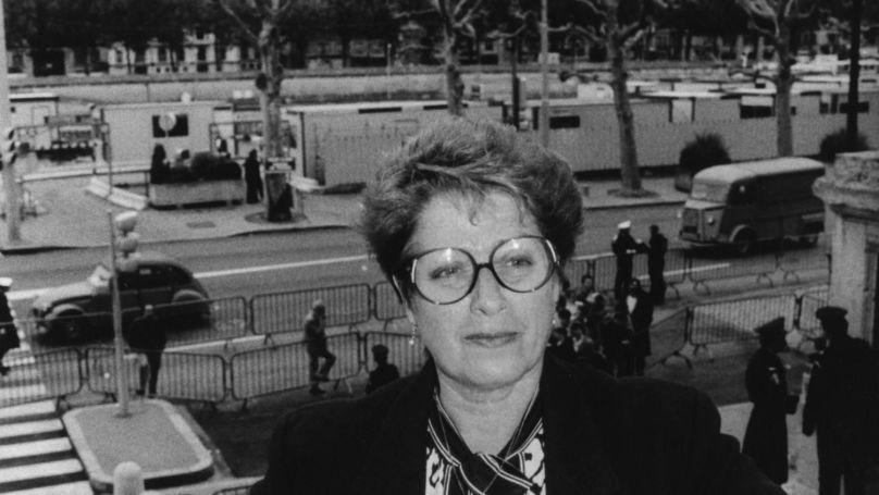 Simone Lagrange, witness for the prosecution in the Klaus Barbie case, Lyon, France, 1987.