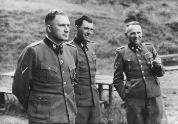 Richard Baer, Josef Mengele, Rudolf Hoess at Auschwitz