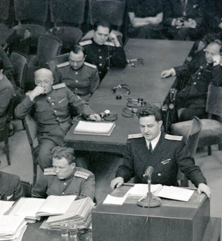 Nikolay Zorya, assistant prosecutor for the USSR, delivering a report at a session of the Nuremberg Tribunal.