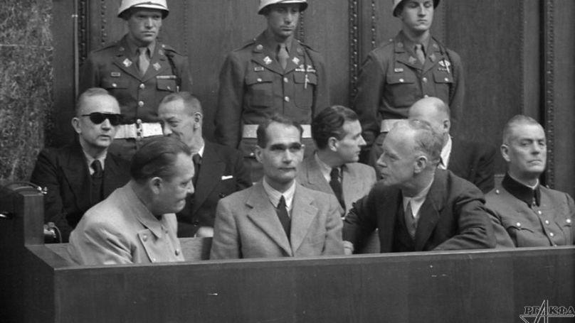 During a break in the session. Defendants Hermann Göring, Rudolf Heß and Joachim Von Ribbentrop. January 1946.