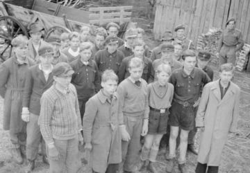 Young fighters of the Hitler Youth captured by British troops near the town of Buxtehude. 1944 year