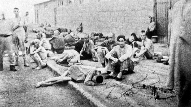 Des prisonniers du camp de concentration allemand de Mauthausen.