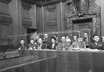 Interpreters at a session of the International Military Tribunal.