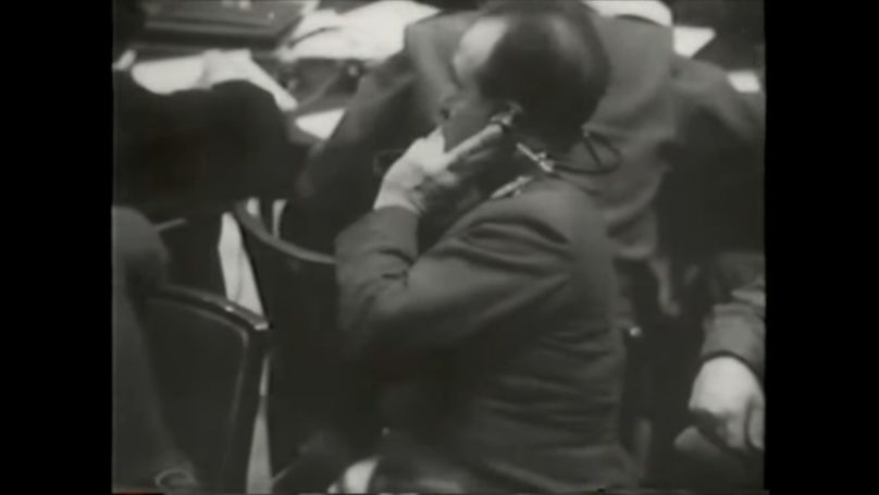 On 10 November 1945, the first session of the International Military Tribunal was held in courtroom number 600 at the Palace of Justice. This is the date when modern simultaneous conference interpreting was born. // Screenshot of a video from the Robert Jackson Center website.