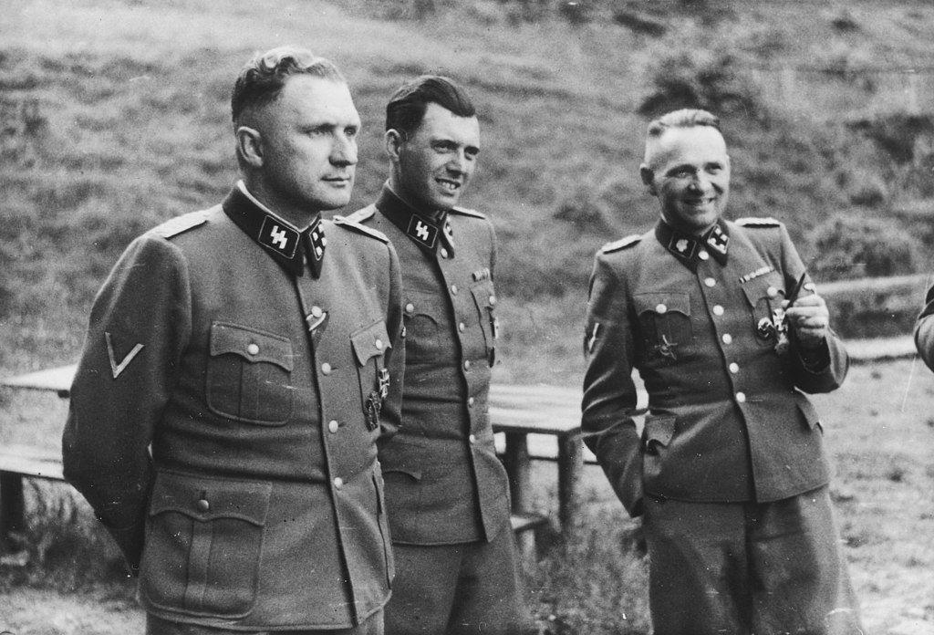 Ричард Баер, Йозеф Менгеле и Рудольф Хесс в Освенциме, 1944 год.