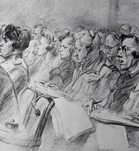 A copy of The World is Judging, a painting by Nikolai Zhukov. Nuremberg Trials exhibition.