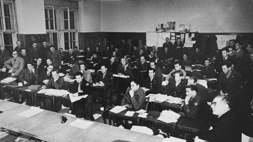 The press room at the International Military Tribunal. Nuremberg, Germany, between November 1945 and October 1946.
