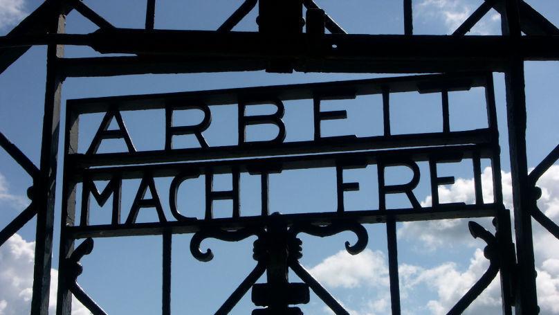 Gate with inscription Arbeit Macht Frei, Dachau Concentration Camp, Dachau.