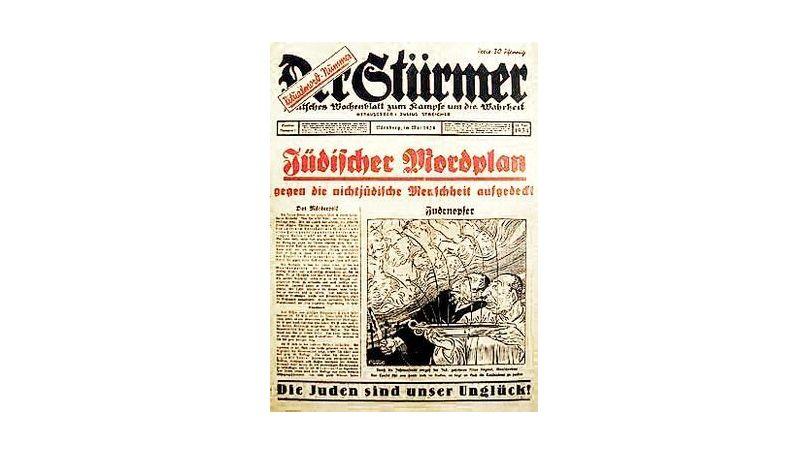 L'édition spéciale du journal Der Stürmer de 1934. Des juifs «extraient du sang d'enfants chrétiens pour l'utiliser lors de rituels religieux et de sacrifices» sont représentés sur le dessin