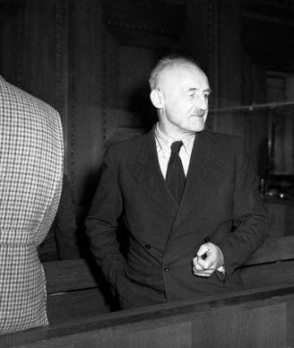 L'accusé Julius Streicher lors du procès de Nuremberg, décembre 1945 // Archives d'État russes des documents cinématographiques et photographiques, numéro d'archives B-2476